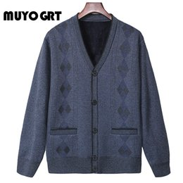Wholesale wool shawl collar sweater for sale - Group buy MUYOGRT Fashion Men Autumn Sweater Coat Thick V neck Argyle Casual Shawl Collar Cardigan Men Brand Slim Fit Knitwear Outerwear