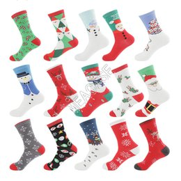 Wholesale warm winter men casual socks for sale – custom Christmas Fashion Print Stocking Santa Snowman Snowflake Cotton Long Socks Women Men Winter Keep Warm Stockings Mid calf Sock Hosiery D82009