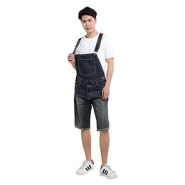 shorts for tall men Australia - 2020 Summer Men`s Denim Shorts Overalls Vintage Washed Multi-Pockets Jean Jumpsuit For Men Big and Tall Size S-4XL