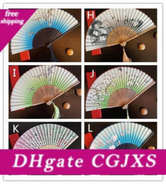 Wholesale silk male resale online - Vintage Chinese Spun Silk Flower Printing Hand Fan Folding Hollow Carved Hand Fan Event Party Supplies