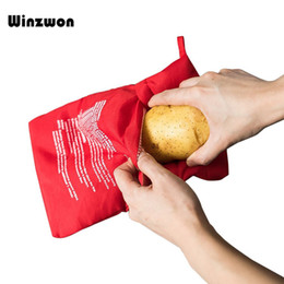 potatoes bags 2020 - 1Pcs Red Washable Cooker Bag Microwave Baking Potatoes Bag Rice Pocket Cooking Tools Easy To Cook Kitchen Gadgets Baking