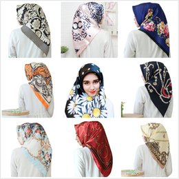 10 Pcs Leopard Chain Print Big Square Scarf 90cm Malaysia Turban Scarves Spot 40 Colors Free Shipping on Sale