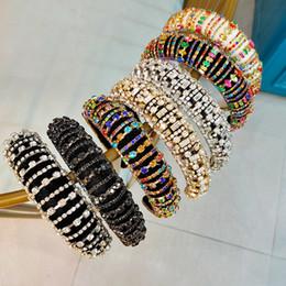 Europe And America Full of Crystals Thick Anti-slip Headband Sponge Man-made Diamond Hairband Women's Hair HOOP on Sale