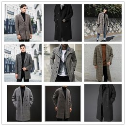 Wholesale plaid trench coat men for sale - Group buy Mens Plaid Winter Trench Coats Man Lapel Neck Single Breasted Pocket Long Coats Men High Fashion Plus Size Loose Outerwears