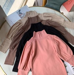 Discount blank long sleeve t shirts INS Little girls New Girls Puff Sleeve Blank T shirt Autumn Fashion Cotton Full sleeve Girls Top 1-6 years