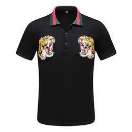 Wholesale head polo shirts resale online – Designer Polo Shirts Men Fashion Polo Casual Men Polo Shirt Tiger head Letter Print Embroidery Fashion High Street Mens Casual Polos