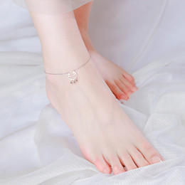 copper anklets NZ - 1dfh7 Yong Cheng Long Life Lock Internet celebrity niche design female Growth longevity Lock sterling silver Korean style simple anklet fema