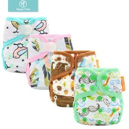 cloth diapers snaps UK - Happyflute Newborn print PUL design snap or hook&loop eco-friendly cloth diaper cover BABY COVER