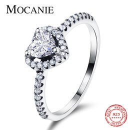 wholesale statement rings Australia - Mocanie Shiny Zirconia Romantic Love Heart Finger Ring for Women 925 Sterling Silver Luxury Wedding Engaement Statement Jewelry