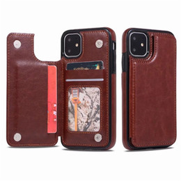 Wholesale customized phone cases for sale - Group buy Luxury PU Leather Phone Case for iPhone Pro Max Wallet Case for iPhone XR Xs SE Cover Kickstand with Card Slots