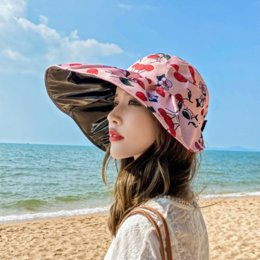 hats sun protection face cover UK - Vsiqq Summer face-covering UV protection sunscreen sunscreen women's empty-top travel sun hat Korean style all-match sun hat