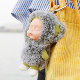 koala bear jewelry Canada - 48pcs of Cute Keychain Baby Doll Toy Pompom Key Chain Women Girl Bag Cars Simple Fluffy Key Ring Jewelry Gifts