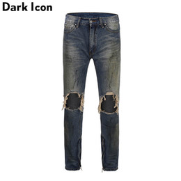 Wholesale dark destroyed jeans resale online - Dark Stonewashed Ripped Ankle Zipper Dirty Jeans High Street Jeans Men Regular Style Destroyed Men s Pants