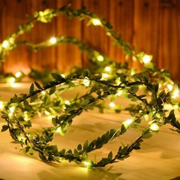 leaf string lights NZ - 2M 3M 5M 10M Green Leaf Garland String Lights LED Flexible Copper Artificial Leaf Vine Lights for Christmas Wedding Party Decor