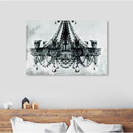 Discount wall oil lamps 1 Pcs Home Decor Canvas Pictures Wall Art Black Glass Celling Lamp Paintings Prints Modern Modular Poster Living Room Fr