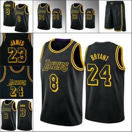 Men's Los AngelesLakersKobeBryantLeBron James Anthony DavisNBA Black Mamba Jersey Shorts