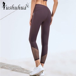 Wholesale mesh leggings for women for sale - Group buy High Waist Tummy Control Tight Pants Women Mesh splice Sport Leggings Fitness Sportswear For Women Gym Breathable Yoga Pants