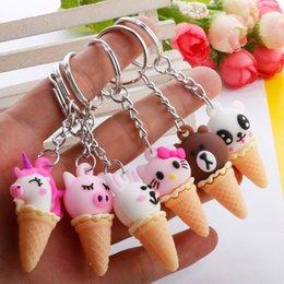 Creative Cartoon Animal Ice Cream Keychain Cute Unicorn Sweet Cone Bag Pendant Gift