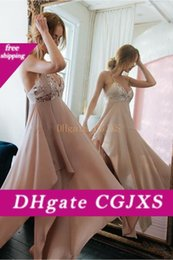 Wholesale criss cross asymmetrical for sale – plus size Sexy Asymmetrical Chiffon A Line Prom Dresses Spaghetti Halter Criss Cross Backless Maid Of Honor Party Gowns