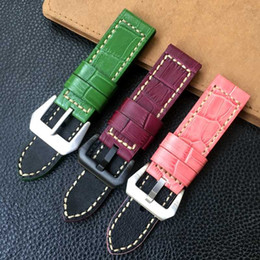 genuine crocodile leather watchband NZ - 24*24mm Green Pink Violet Crocodile pattern Thick Genuine Leather Watchband Wristband For PAM441 PAM111 Watch Strap