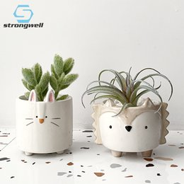 mini garden gifts Australia - Strongwell Succulent Ceramic Flowerpot Hedgehog Puppy Cute Animal Flower Pot Creative Mini Garden Bedroom Desktop Birthday Gift Y200723