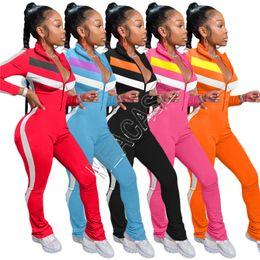 Wholesale Women's Patchwork Jumpsuits Rompers Zipper Long Sleeve Stand Collar Legging pants Jumpsuits Casual Trendy Ladies Onesies Jumpsuit D82008
