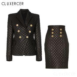 Winter-Zweiteiler Plaid Pu Frauen Anzüge elegante lange Hülsen-Leder-Blazer + Rock 2 teiliges Set weibliches Büro Blazer Sets im Angebot