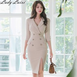 Discount women office dress suits 2020 Spring Double breasted Pencil Bodycon Dress Women Notched Neck 3 4 sleeve Suits Dresses office Business work Vestidos