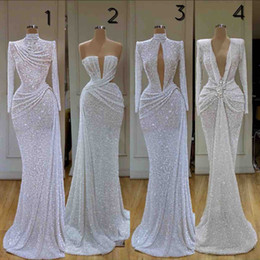 Wholesale Newest Glitter Mermaid Evening Dresses High Collar Sequins Beaded Long Sleeve Sweep Train Formal Party Gowns Custom Made Long Prom Dress