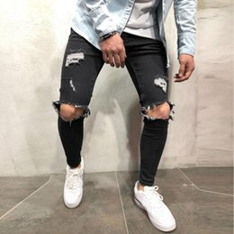 Wholesale jeans sweatpants for sale - Group buy Autumn Mens Skinny Stretch Denim Pants Distressed Ripped Freyed Hole Taped Slim Fit Skinny Jeans Trousers Sweatpants Hombre