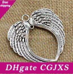 angels metal beads Australia - 30pcs  Lot Vintage Silver Angel Wings Charms Metal Big Pendant For Jewelry Making 65 *69mm