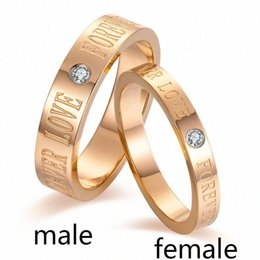 titanium tension set engagement rings Canada - Fashion Rose gold color Titanium Forever Lovers couple Ring Vintage inlaid crystal Wedding Bands Engagement Gift Forever Love SIkI#