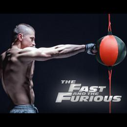 Venta al por mayor de Perforación de la bola de la PU de la pera de boxeo Bolsa Reflex velocidad Bolas de Muay Thai Boxe ponche de fitness Entrenar Equipo adultos inflable