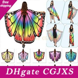 Wholesale halloween fairy costume women for sale – halloween Halloween Costumes Butterfly Wings Shawl Women Fairy Decorative Accessories Wrap Printing Shawl Scarves Scarves Party Supplies Wx9