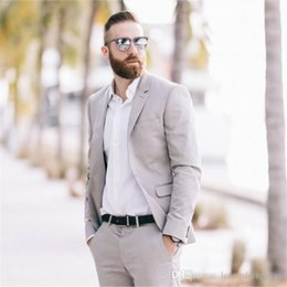 grey tuxedos NZ - Tailor Made Men Suits Grey Spring Summer Custom Wedding Suits For Man Groom Prom Beach Tuxedos Blazer Jacket Men 2 Pieces Tern