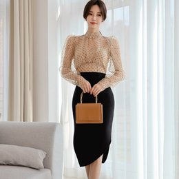 bubbles football Australia - caKRc 2020 Spring New socialite temperament bubble sleeve perspective polka dot lace high waist irregular skirt two-piece set Lace Shirt shi