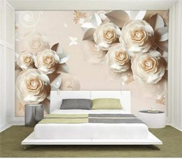3d rose wall sticker Australia - custom size 3d photo wallpaper living room 3d wall mural paper carving rose romantic emboss picture sofa TV backdrop non-woven wall sticker