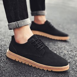 comfy casual shoes mens UK - New Black Mens Casual Shoes Man Fashion Leather Suede Shoes Men Business Leisure Flats Comfy Lace-up Comfortable Oxford For Male