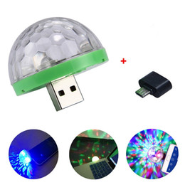 light shapes stage 2021 - USB Laser Light Mini RGB LED Disco Ball Shape Stage Effect Convenient For Party Club DJ Light Mobile Phone