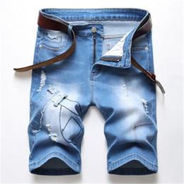 Wholesale patch denim shorts for sale – denim Denim Shorts Fashion Slim Fit Micro Casual Cotton Wash Ripped Jeans Designer Male Clothes Denim Break Patch Shorts Jeans Hole Elastic Man