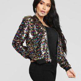 Wholesale colorful bomber jacket for sale – winter Chic Colorful Sequined Bomber Jacket Beading Coat Casual Women s Zipper Cardigan Stage Dance Long Sleeve Crop Tops Streetwear