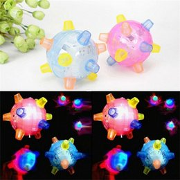 bouncing jumping ball NZ - Jumping Activation Balls Toys Novelty Colorful Music Bouncing Ball Baby Blue Red Electric Light Emitting Toys Hot Selling 4 5bd L1