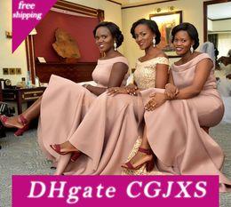 Wholesale nigerian wedding evening dress for sale - Group buy Nigerian Blush Pink Elegant Mermaid Bridesmaid Dresses Scoop Neck Maid Of Honor Gowns Wedding Guest Evening Prom Wear Bm0924