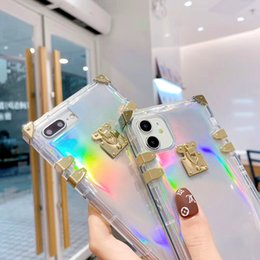 Wholesale case for iphon for sale - Group buy Luxury Square Laser Transparent Phone Case For iPhone ProMax XR X XS Max Plus Laser Rainbow Soft Silicone Shockproof Cover For iPhon