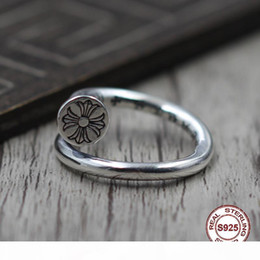 lovers gift flower UK - S925 pure silver men's ring personality retro The punk style Cross military flower classic ring Gift to your lover 2019 new hot