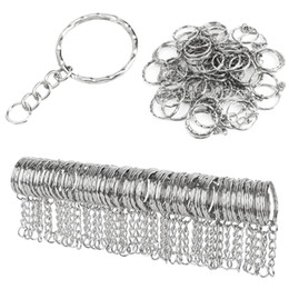 100 Pcs Lot Dia 25Mm Polished Keyring Keychain Split Ring with Short Chain Key Rings Women Men Diy Key Chains Accessories on Sale