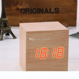 digital sound electronics UK - Wooden LED Alarm Clock Sound Control Wood Square Clocks with Calendars Electronic Desktop Digital Table Clocks