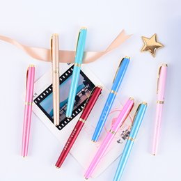 pen boxes Australia - 1 pcs High Quality Metal Luxury Fountain Pen Business Signature Calligraphy Pens School Office Stationery Supplies,Free gift box