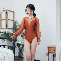 black swimsuit one piece small NZ - Hot spring women's one-piece sexy backless mesh long sleeve small chest black slimming velvet graceful swimsuit swimsuit conservative umbrel