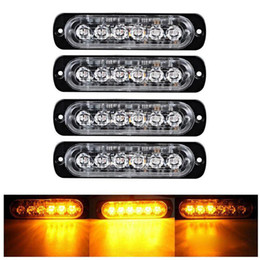 led bar signal car NZ - Car Amber Yellow Strobe Light 6 LED Strobe Signal Warning Light Bar Security Alarm Flash Flashing Bulb Surface Mount Lighthead Lamp 12V-24V